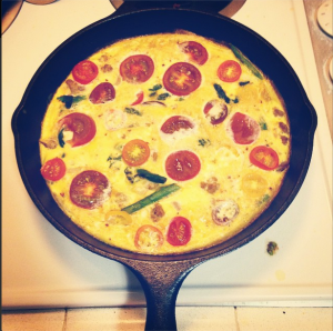 Turkey, Asparagus, Heirloom Tomato Frittata